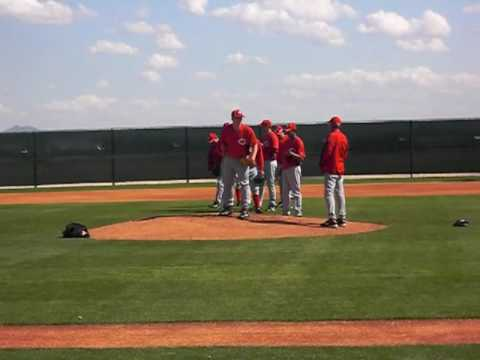 Cincinnati Reds Minor League Pitchers work on pick off moves
