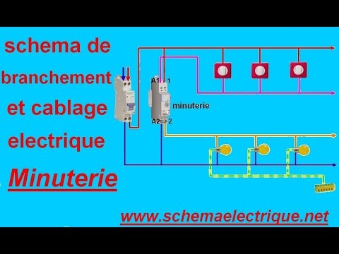 Schema branchement cablage minuterie youtube for Bouton de sonnette exterieur legrand