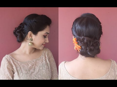 side-puff-updo|simple-&easy-juda/bun-hairstyle-for-wedding-guests|step-by-step|asmita