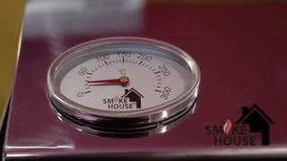 Обзор коптильни из нержавейки. Крышка домиком. Коптильня с термометром.