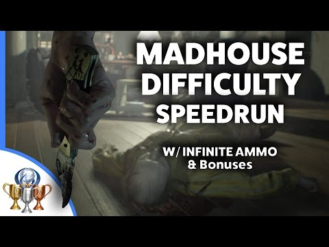 Resident Evil 7 Live MADHOUSE Difficulty Speedrun Walkthrough w/ Infinite Ammo and All Bonus Items
