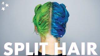 SPLIT HAIR DYE in Blue & Neon Green