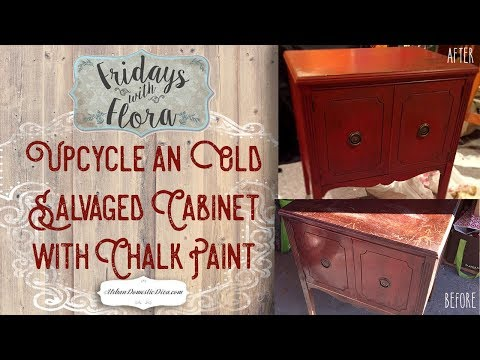 How To Chalk Paint an Old Cabinet Dresser and Distress Furniture with Wax, EP 18, Fridays with Flora
