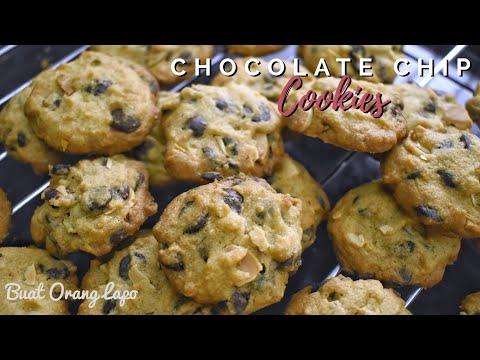 How to make Crunchy Chocolate Chip Cookies Recipe | Resepi Biskut Raya Cip Coklat Rangup