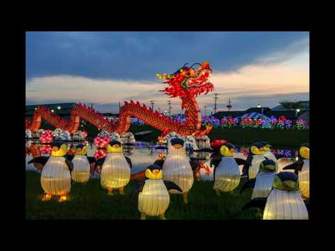 The sun sets and lanterns light up at Chinese Lantern Festival