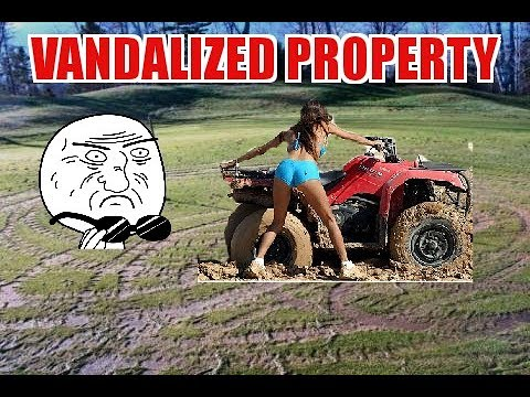 DICK ATV QUAD RIDERS VANDALIZE MY TRAILS - NEW JUMPS  ADDED TO MY ATV QUAD TRAILS