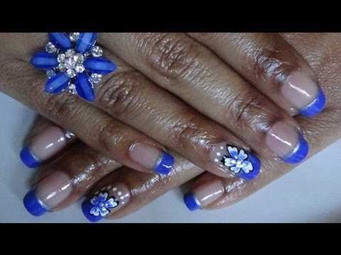 Simple Royal Blue Silver Nail Design Youtube