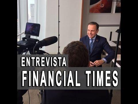 João Doria em entrevista exclusiva para o jornal Financial Times de Nova York