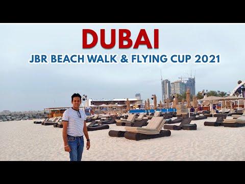 JBR Beach Walk DUBAI 2021 & FLYING CUP   JUMEIRAH BEACH Walk DUBAI