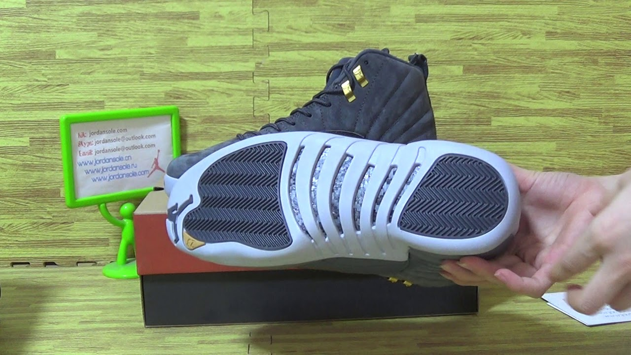 f837031341b Authentic Air Jordan 12 Grey Suede - YouTube