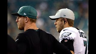 Eagles' Nate Sudfeld warms up before Rams game
