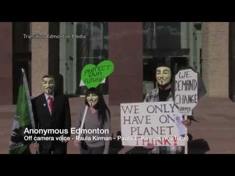 Anonymous Edmonton - Global Frackdown Rally Against Fracking