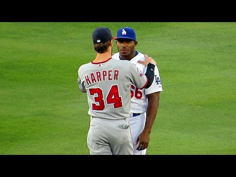 Bryce Harper   Yasiel Puig Meet at  Dodgers - YouTube 38f34576a5c