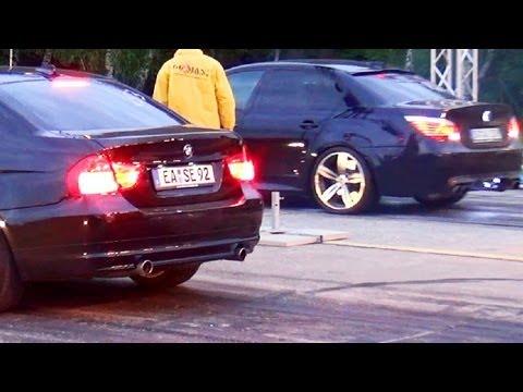 BMW M5 E60 vs BMW 335d E90 Drag Race Viertelmeile Rennen Beschleunigungsrennen Acceleration Sound V1
