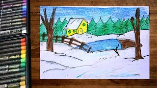 How to draw landscape winter snowfall scenery using color pencil step by step