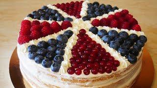 Простой бисквитный торт с ягодами НЕЖНЫЙ ЛЕГКИЙ и БЫСТРЫЙ ЛЕТНИЙ торт украшение ягодами