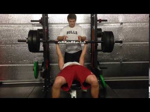 Exercise Index: Swiss Bar Bench Press 225x3 | Louisville Commit Jack Perkins