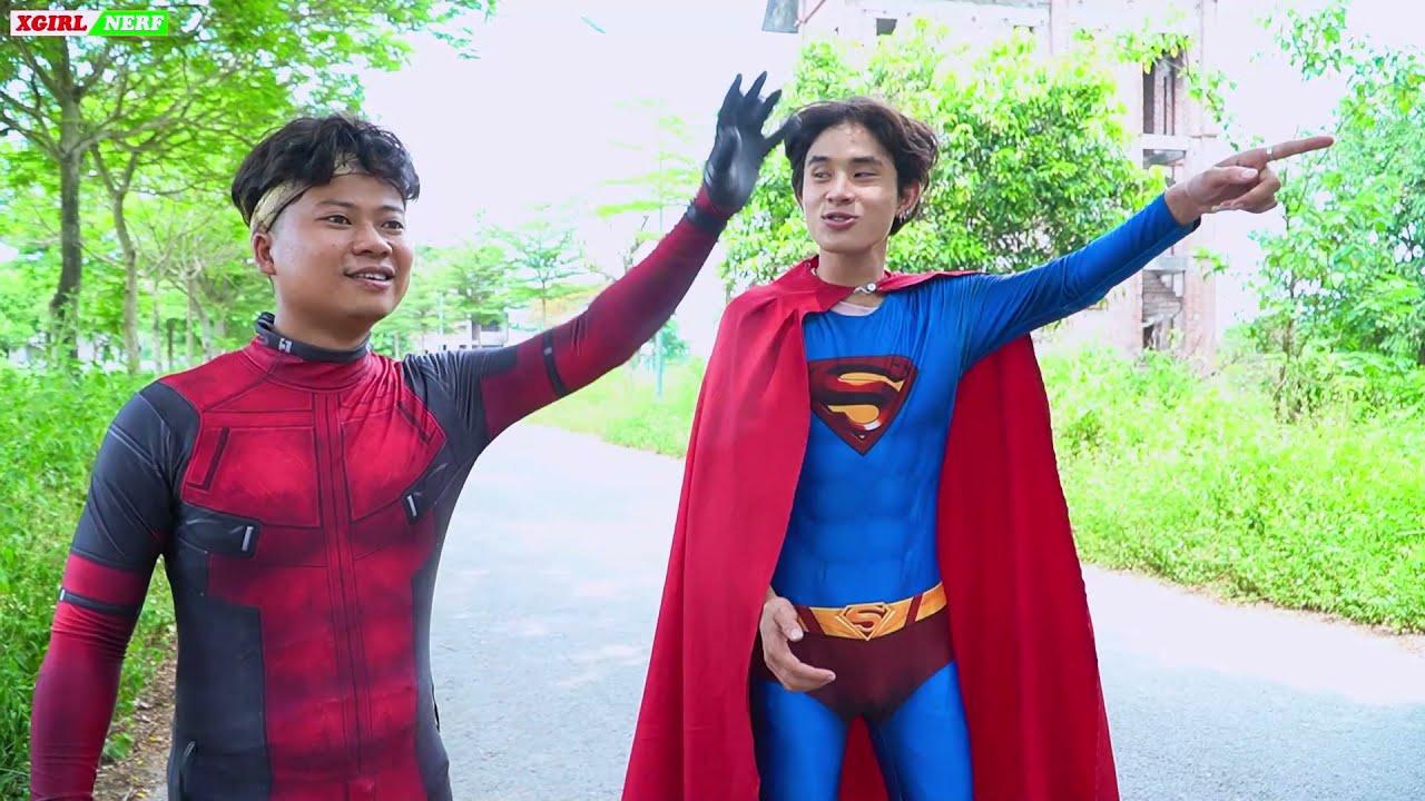 XGirl Nerf War DEADPOOL IN REAL LIFE & SWATI Candy Nerf Guns Alibaba Fight Superman NERF Apple War