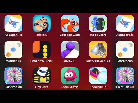 Aquapark.io, Ink Inc, Sausage Wars, Turbo Stars, Marbleous, Snake Vs Block, Amaze, Rusty Blower 3D