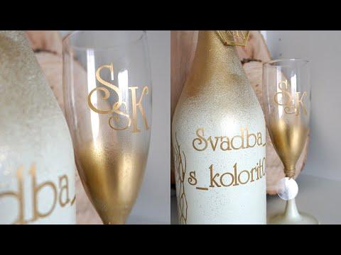 Оформление свадебных бокалов и бутылок фатином сеткой своими руками