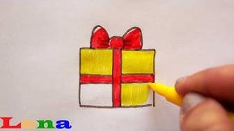 Geschenk zeichnen 🎁 Malen für Kinder - how to draw a gift / Present box - как нарисовать подарок
