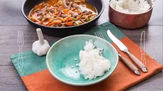 Говядина, тушенная в томатном соусе с рисом - доставка продуктов с рецептами Шефмаркет