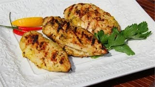 Mango Coconut Shado Beni (cilantro) Grilled Chicken.