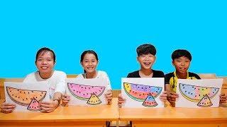 Hunter Kids Go To School Learn Colors watermelon  |  Classroom Funny Nursery Rhymes