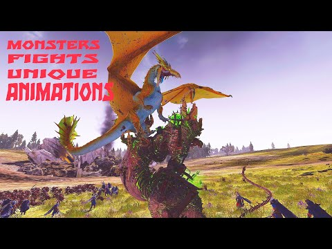 Unique Monsters Fights Animations. Total War Warhammer 2 |