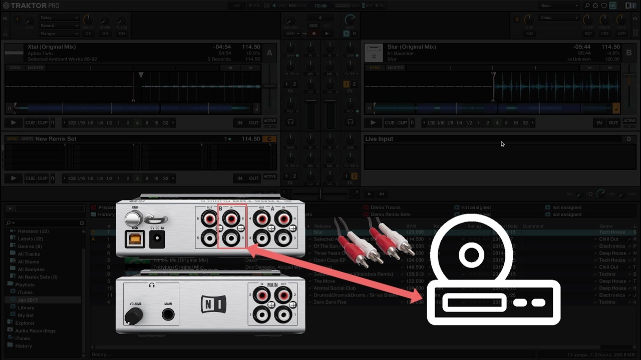 hight resolution of how to use external audio as live input in traktor
