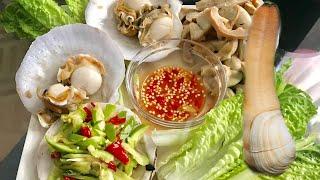 Ăn Ốc Vòi Voi,Sò Điệp và gỏi Xoài Cùng Marry Phan  (Eating Scallops, Goeduck and spicy Mango Salad