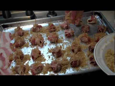 Bobbi's Kitchen - Superbowl snacks bacon wrapped waterchestnuts part 2 revisited
