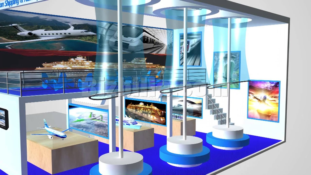 Exhibition Booth Animation : Virtual trade show booth animated demo videos for aviation