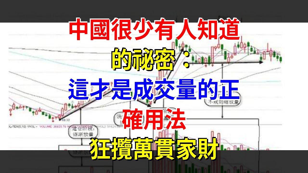 中國很少有人知道的祕密:這才是成交量的正確用法,狂攬萬貫家財 - YouTube