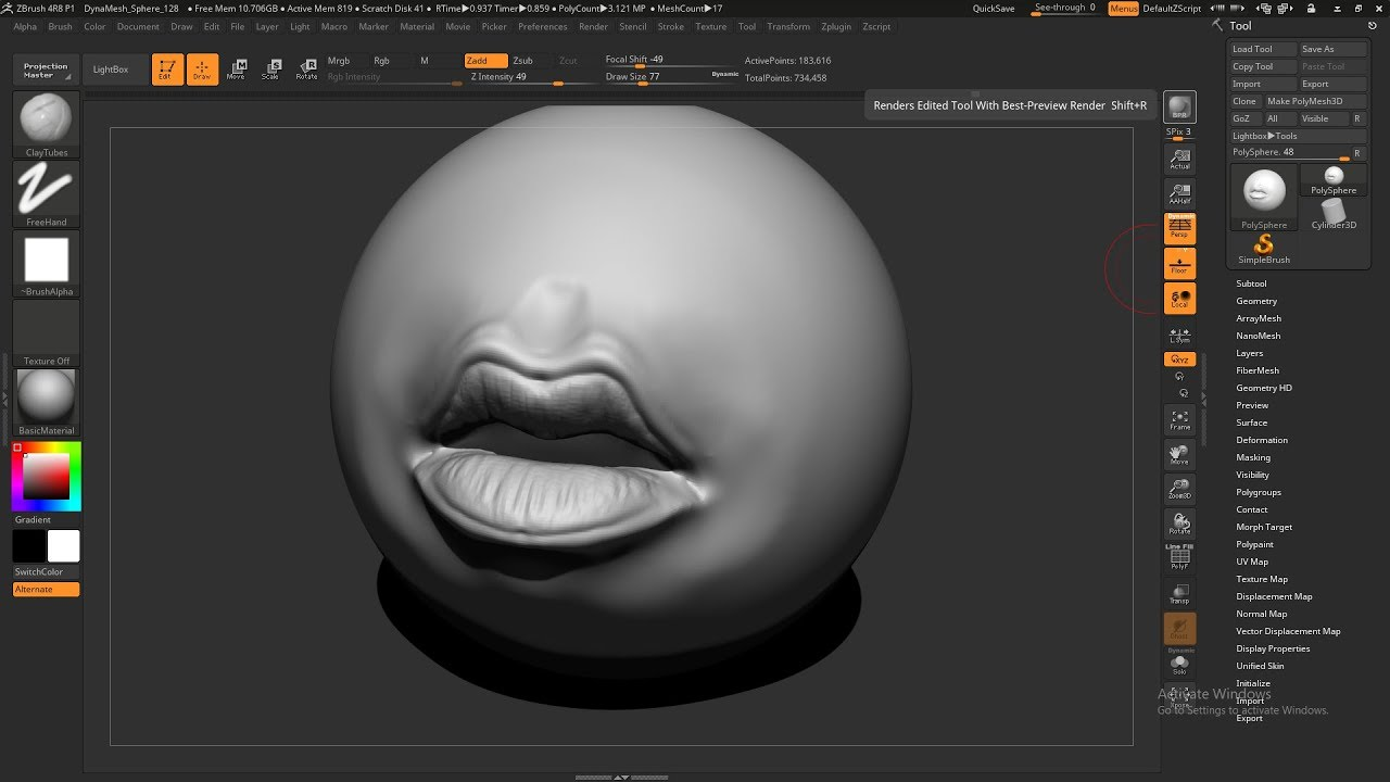 mouth sculpt zbrush 4r8 , zbrush tutorial zbrush beginner