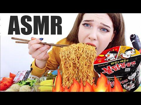 АСМР🔥 Острая Лапша | Fire noodle challenge | Хардкорный мукбанг | Тихий голос | Итинг