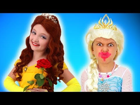 Princess Dress Up & Makeup Transformation Contest Between Elsa and Malena | Super Elsa
