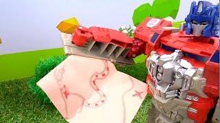 Видео с Роботами Трансформерами.  Автоботы и Десептиконы ищут сокровище!