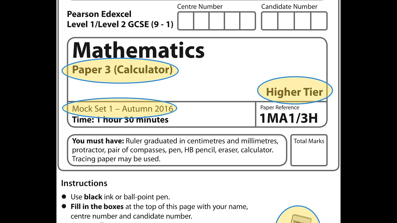 Mock Set 1 (9-1) 2017 Paper 3 Higher Calculator - YouTube