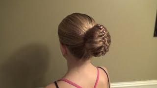 Причёска Пучок (с губкой и плетением) Peinado Bollo Tutorial
