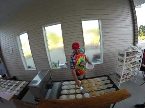 RAGBRAI Day 3:  All you can eat pancakes at Chris' Cakes.