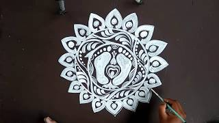 LAXMI PUJA ALPANA DESIGNS/HOW TO DRAW SIMPLE DESIGN ALPANA / SIMPLE KOLAM/SIMPLE RANGOLI
