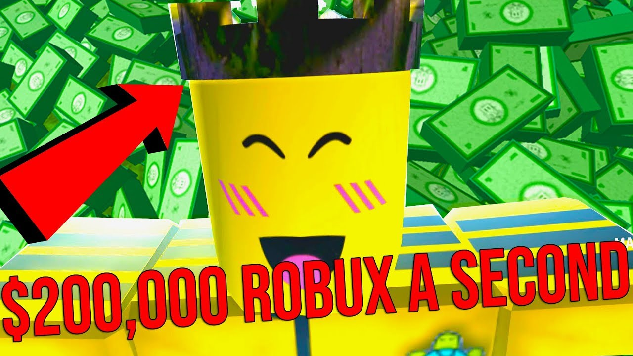 Roblox Money Simulator 200000 Robux Every Second Youtube