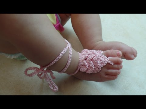 CROCHET How To #Crochet Crocodile Stitch Baby Barefoot Sandals with Thread  #TUTORIAL #317 LEARN