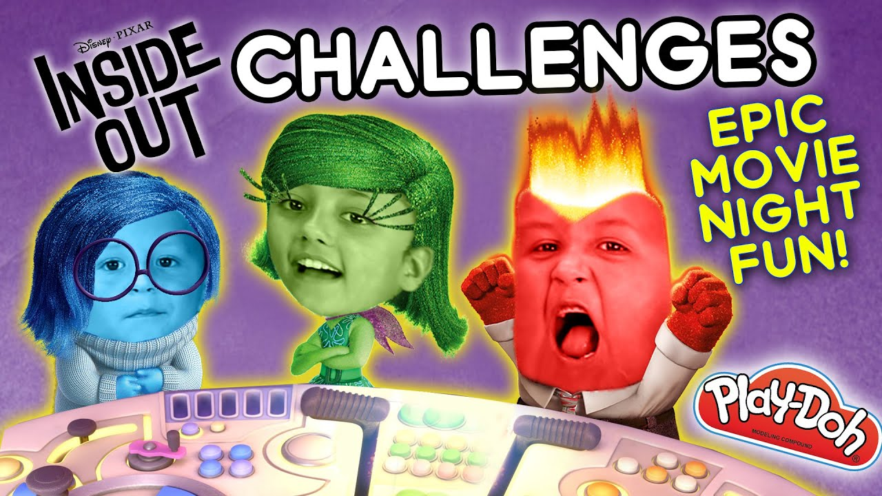 Inside Out Challenge X 2 Movie Night Fun W Playdoh Clothes Funnel Vision Disney Sillyness