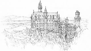Ink Drawing of Neuschwanstein Castle (Narrated)