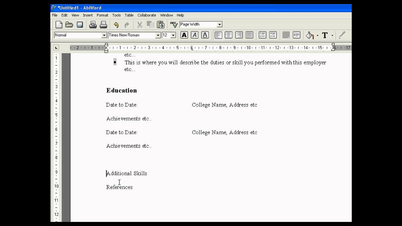 create a cv in abiword create a cv in abiword