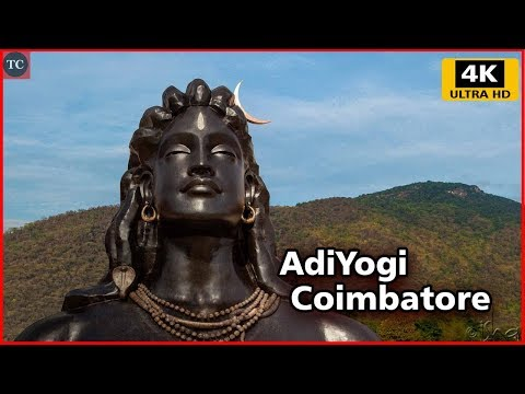 112 Feet AdiYogi Shiva During Rainfall - Isha Yoga, Coimbatore, Velliangiri Foothills 4K