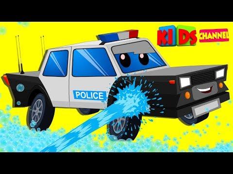 Police Van Car Wash | Cartoon Video For Kids | Vehicle Videos For Preschool Children By Kids Channel