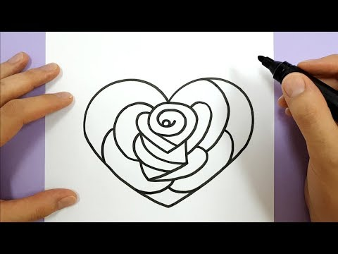 HOW TO DRAW A ROSE IN A LOVE HEART STEP BY STEP